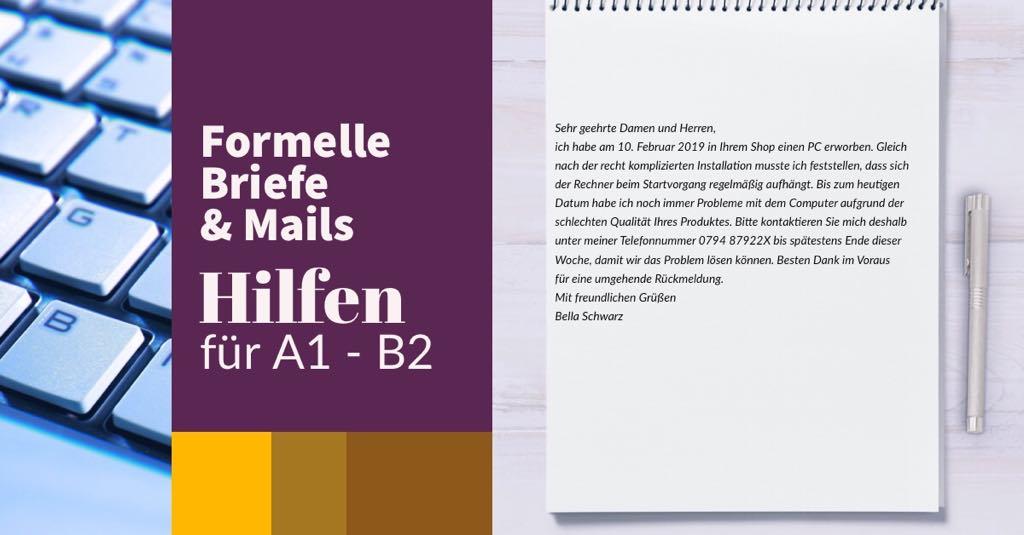 """Formeller Brief: Übungen zum Prüfungsmodul """"Schreiben • Deutsch A 1, A 2, B 1″ für den Deutschtest"""