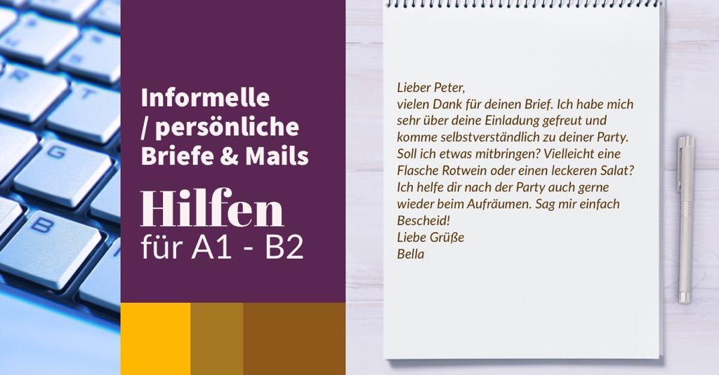 """Informeller / persönlicher Brief: Übungen zum Prüfungsmodul """"Schreiben • Deutsch A 1, A 2, B 1″ für den Deutschtest"""